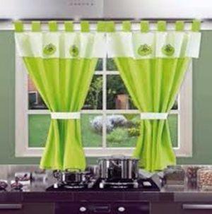 cortina de cocina con faldon bordado